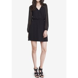 Express Fit & Flare Long Sleeve Black Dress